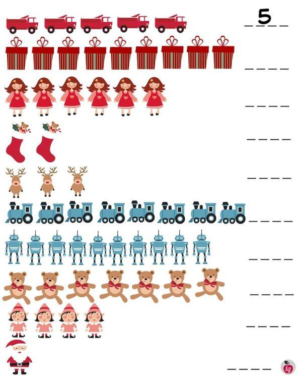practice writing numbers Christmas printables