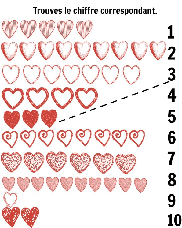 French-hearts-matching printables