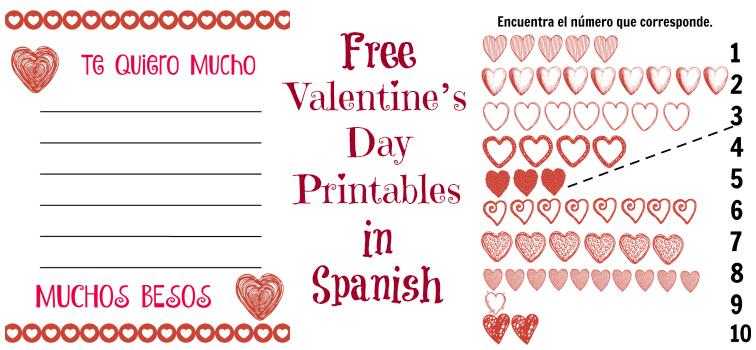 free valentines day printables in spanish - Free Valentines