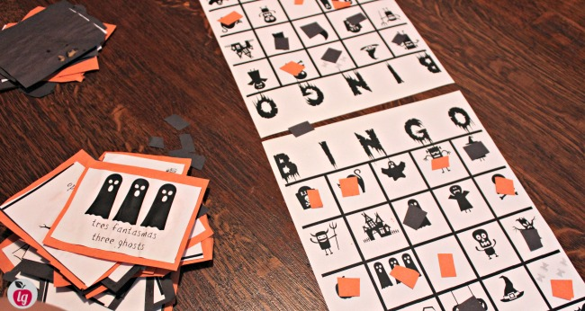 image relating to Halloween Bingo Free Printable called Totally free Printable Bilingual Halloween Bingo recreation - LadydeeLG