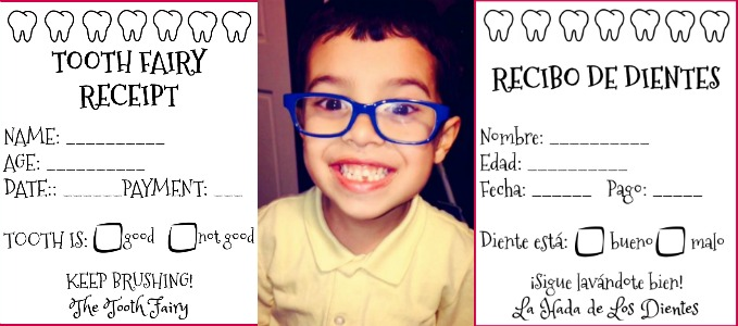 the tooth fairy came free printable tooth fairy receipts in spanish and english