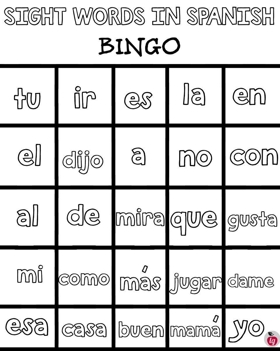 Practice Spanish Sight Words: Free Printable Bingo