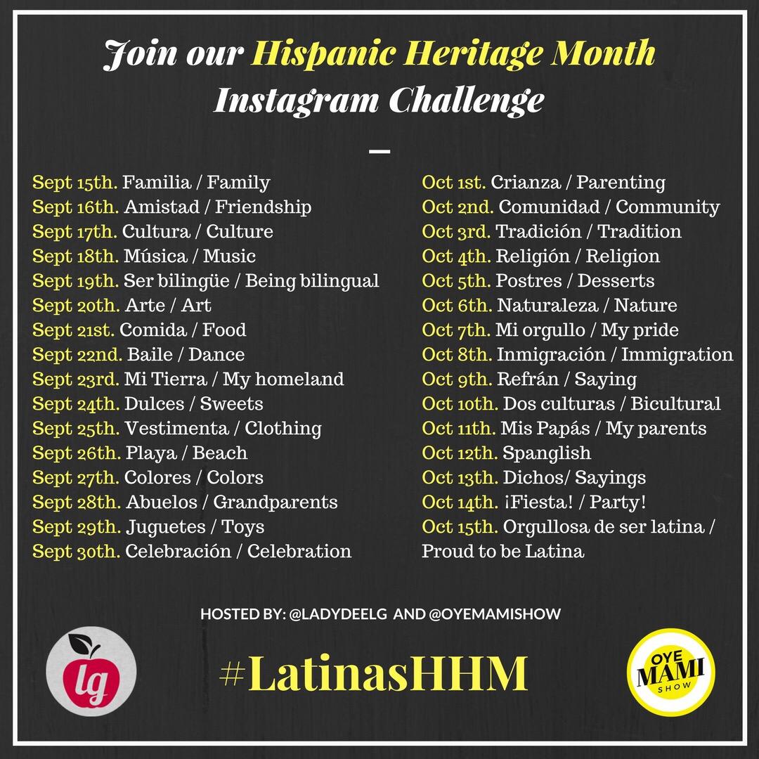 #LatinasHHM Hispanic Heritage Month Instagram Challenge