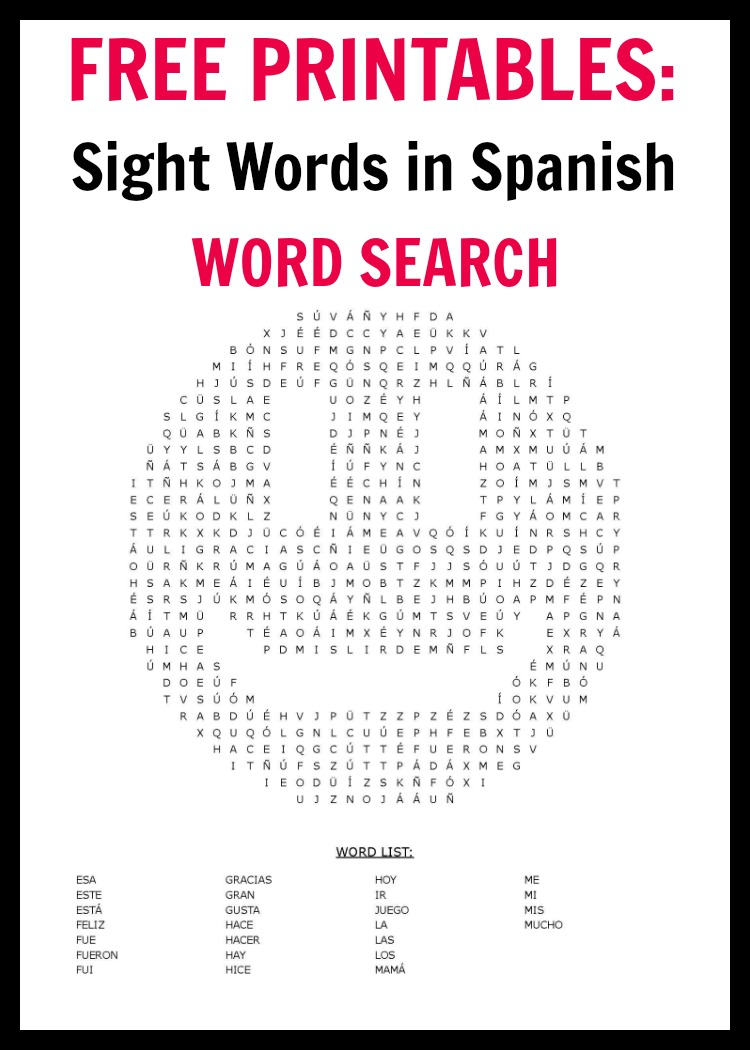 This is a picture of Simplicity Printable Spanish Word Search