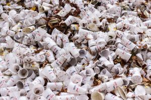 coffee cups in landfill illustrate the sort of foreign waste that China has banned importing
