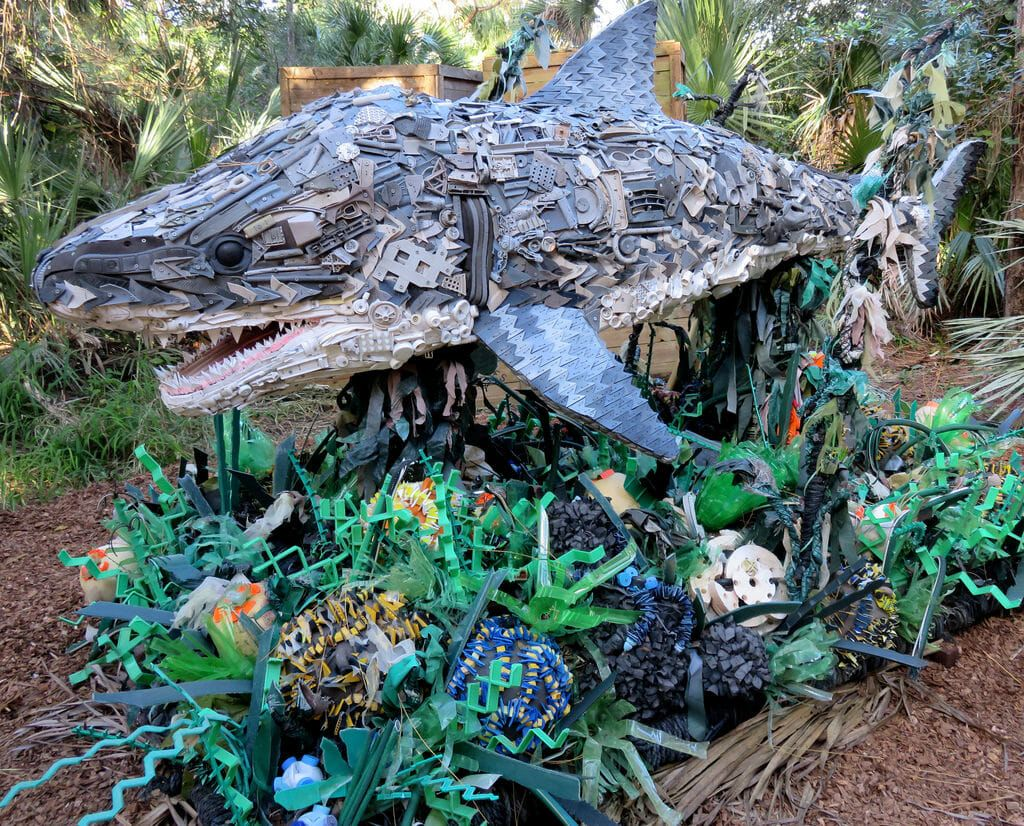Shark made from plastic marine debris, part of the Smithsonian's Washed Ashore exhibition