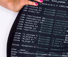 code-print-dress