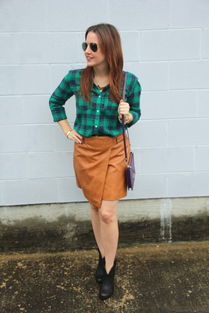 Fall Outfit Idea - Plaid Shirt and Leather Skirt | Lady in Violet