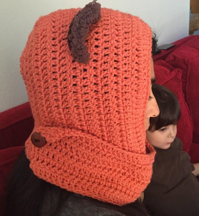 coral star wars ewok scarf hood (scoodie) side view