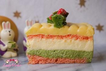 聖誕風法式檸檬柚子抹茶慕斯蛋糕|檸檬凝乳+抹茶Crèmeux+柚子Bavaroise+原味Génoise|法式經典食譜