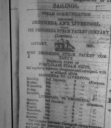 A daily steamer sailing from Drogheda to Liverpool