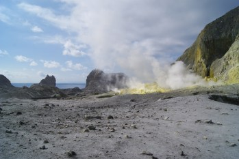 The view of the sulfur deposits from the edge of the main crater.