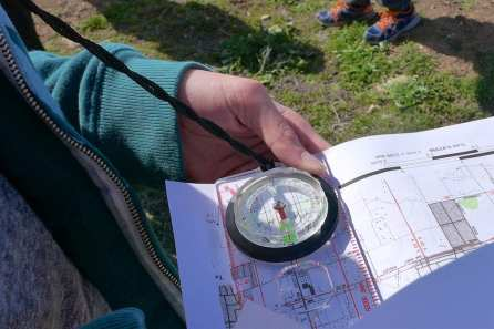 In the field with map and compass