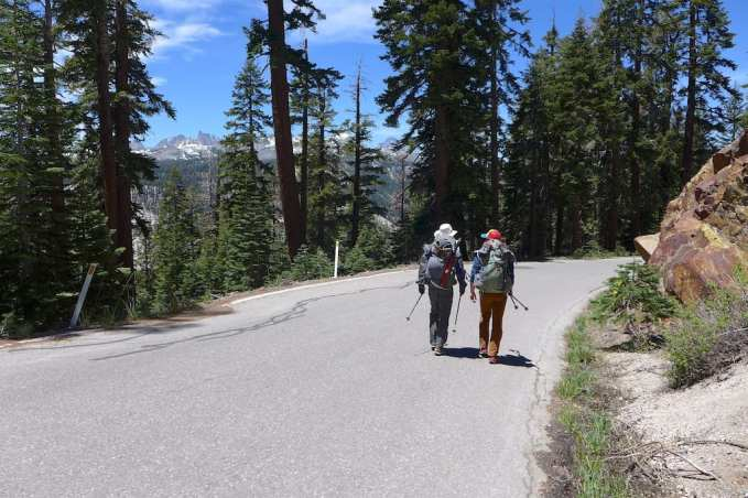 Walking 3 mile road walk from Minaret Summit to Agnew Meadows Trail Head (Shuttle not running yet)