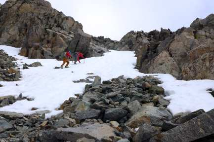 Climbing on icy snow and rock