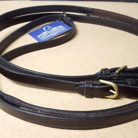 Dark Brown Half Rubber Dressage Reins