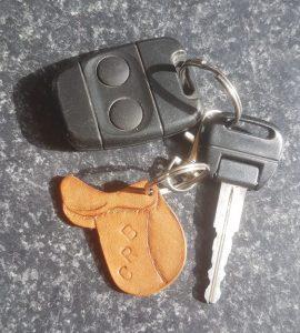 Personalised Saddle Keyring on a Key Fob