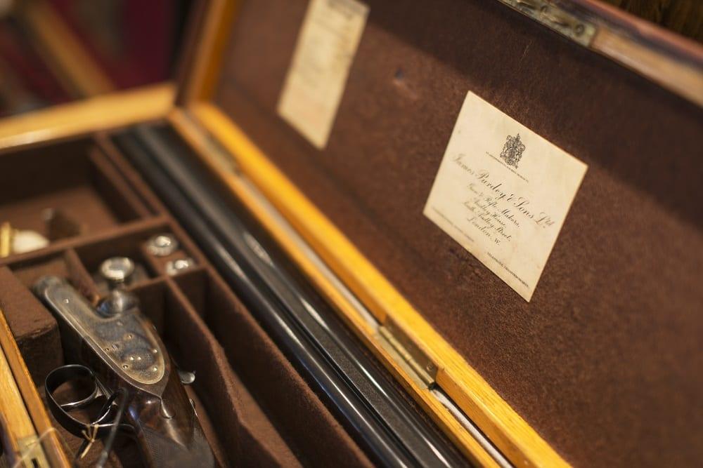 Purdey shotgun in case at Sportarm at Lady's Wood