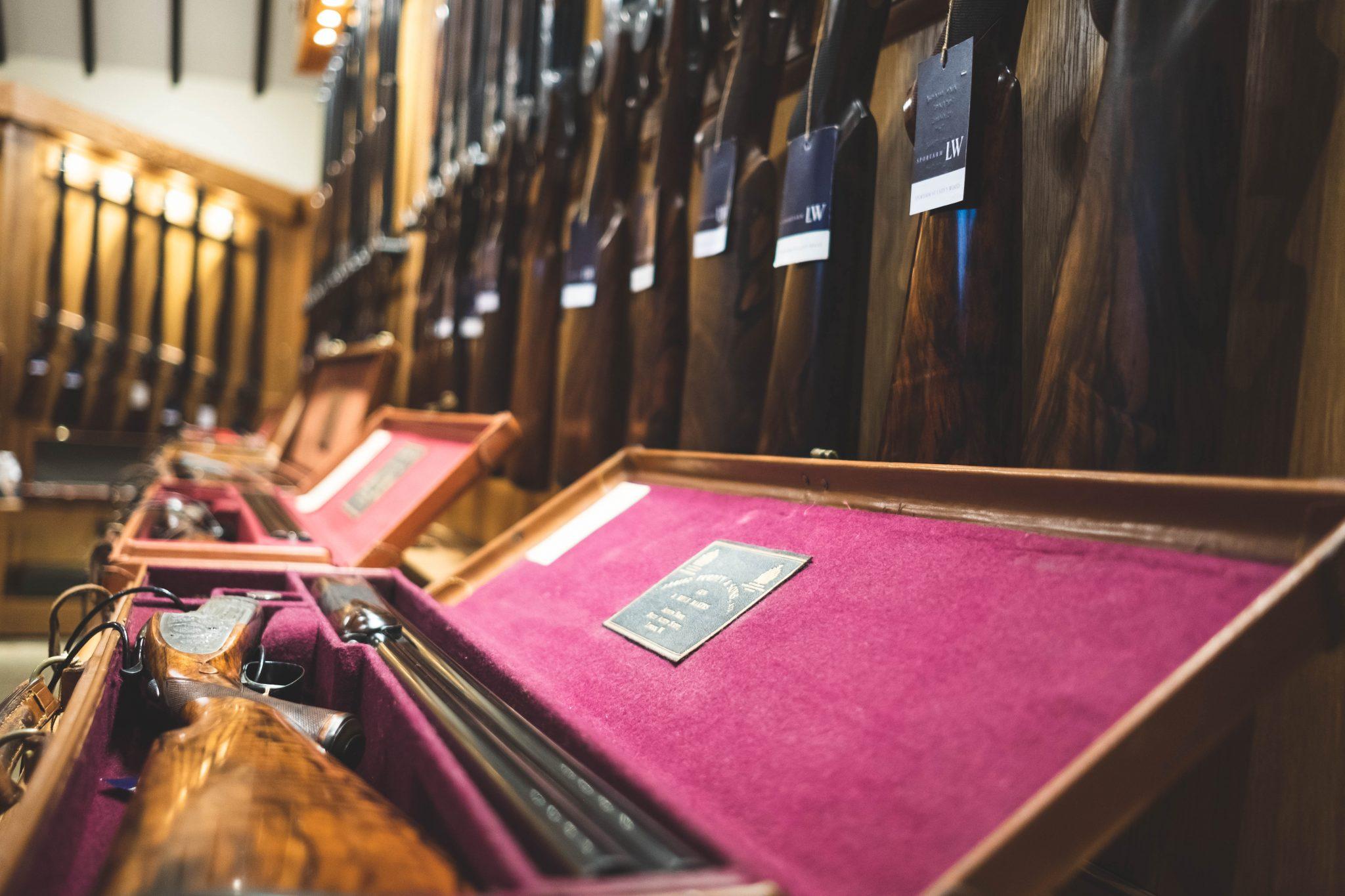 Guns showcased within Sportarm at Lady's Wood gunroom