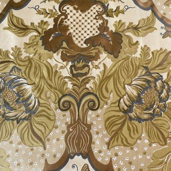 """1950s Schumacher """"Blenheim"""" Handprinted Fabric Sample"""