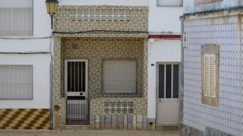 Traditional portuguese glazed tiles, called azulejo
