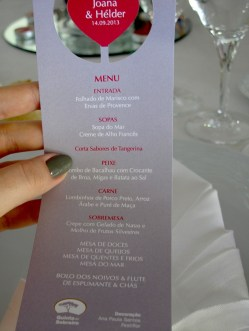 Menu card with dishes which were waiting for everybody