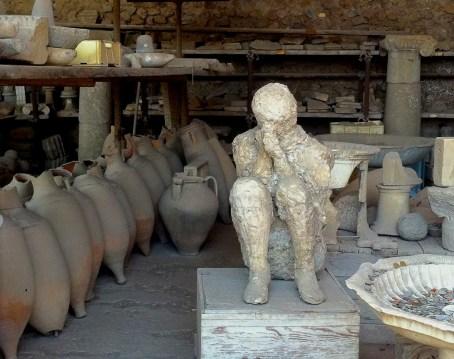 Body in Pompeii ruined city.