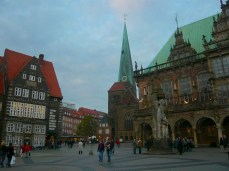 Marktplatz market square and Town Hall on the right