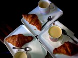 Caffe Latte and croissants in Paris. Funny cups, huh? But croissants were magical!