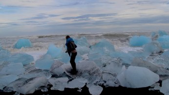 Me and ocean waves and icebergs