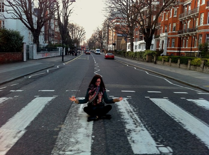 Me in the Lotus pose on the legendary Abbey Road crossing