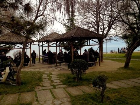 Elderly, gathering in the arbors along the Lake Ohrid
