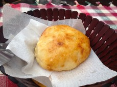 Macedonian bread, served with Shopska salad