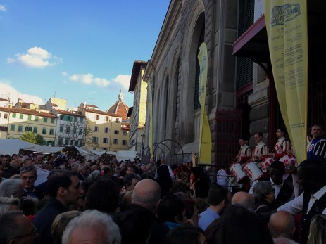 Opening ceremony of new area in Mercato Centrale. Beyond: Florence Cathedral's cupola