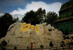 Mount Rushmore heads, made from Lego details