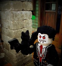 Vampire outside the Ghost House in Legoland