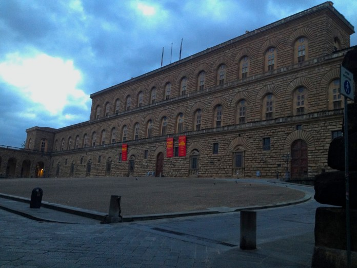 7:18. The only ones, hanging around the Palazzo Pitti palace, were pigeons.