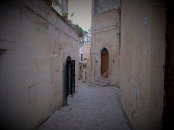 Tiny cobbled streets of Matera