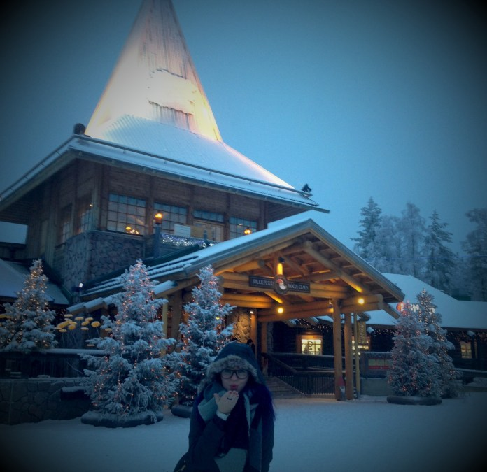 Right behind me - Santa Claus Office at the Arctic Circle in Rovaniemi, Lapland.