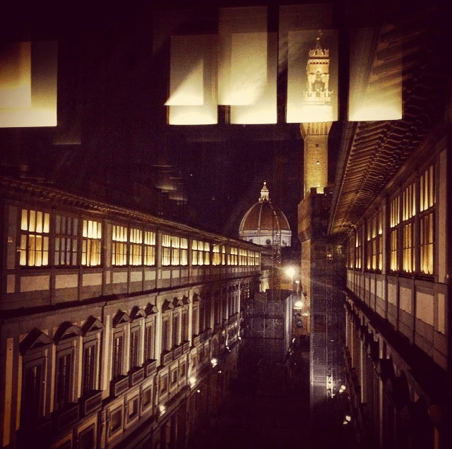 Reflections and views from the Uffizi gallery in Florence