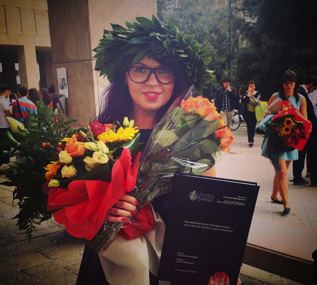Finally wearing a laurel wreath after graduating the University of Florence