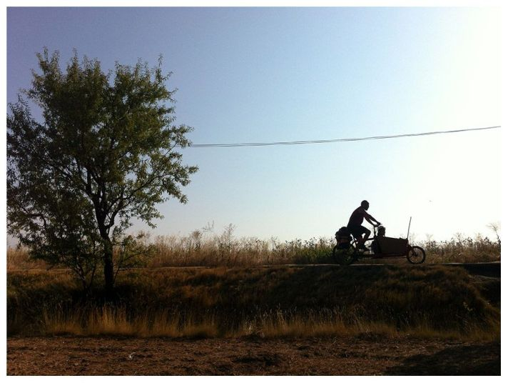 cargo bike bullitt en contra luz . Viñedos de homps