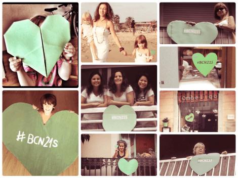 Collage de fotos con corazones verdes por la Tierra