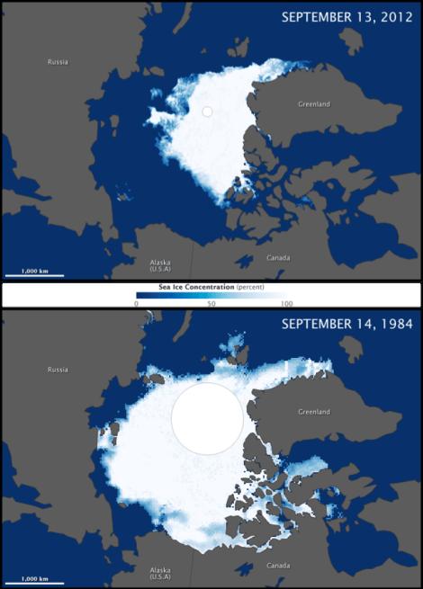 Capa helada Ártico. Comparativa 1984-2012