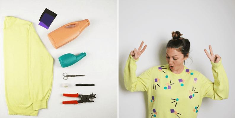Decorar un jersey con botes de plástico. Marta Briones