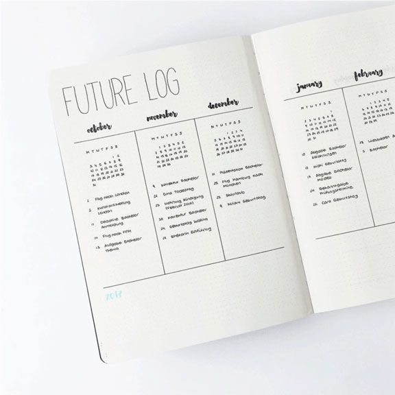 Bullet Journal. Visión de futuro o Future Log. Imagen de https://www.instagram.com/journalspiration/