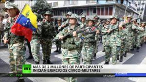 Maniobras militares en Venezuela con dos millones 300 mil combatientes
