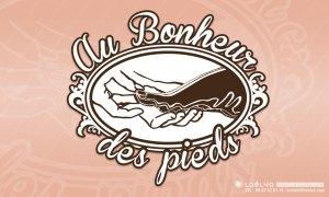 "visuel-book creation logo vintage ""bonheur des pieds"""