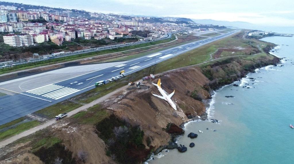 Un 737 de Pegasus sort de piste et finit à flanc de falaise à Trabzon