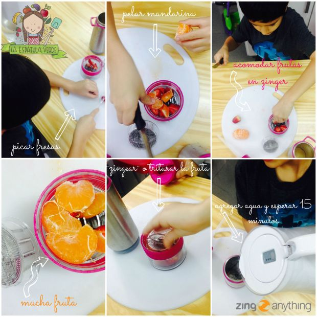 Mis hijos felices creando sus propias combinaciones de agua vitaminada con frutas!